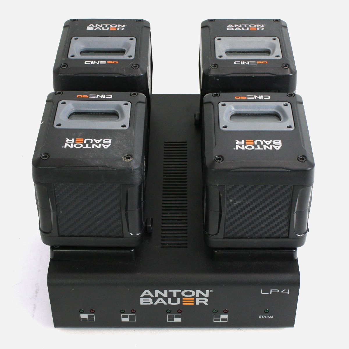 Anton Bauer LP4 Quad charger with 4 Cine 90 VM V-Mount Batteries