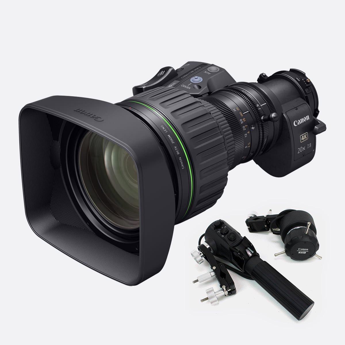Canon CJ20 ex7.8B 4K Lens for ENG and Sports. Includes SS-41-IASD Full Servo Kit