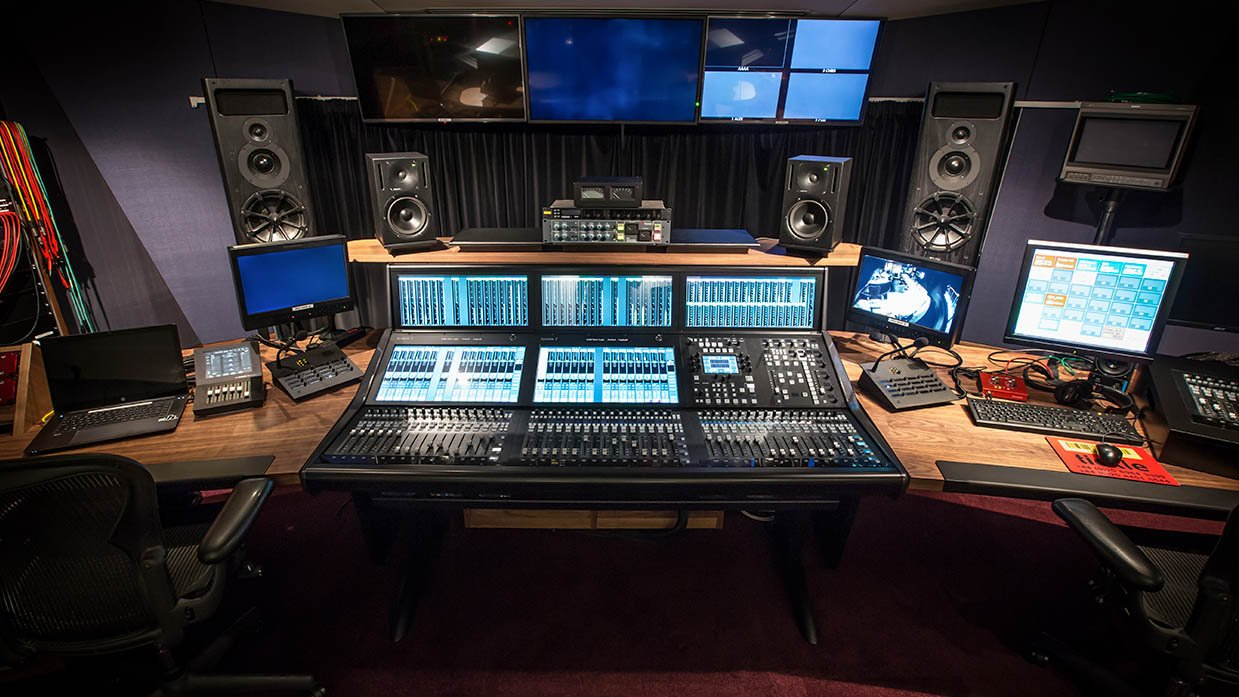 The audio control room at H Studio, following its audio upgrade
