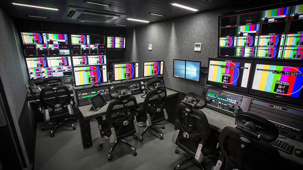Production gallery and EVS positions, RaceTech 14-camera HD OB Trucks